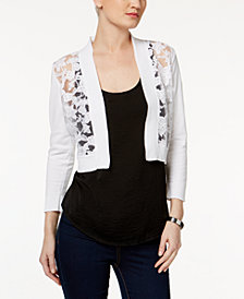 Calvin Klein Illusion Lace Shrug, Petite