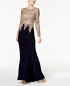 Xscape Embroidered Petite Mesh Mermaid Gown
