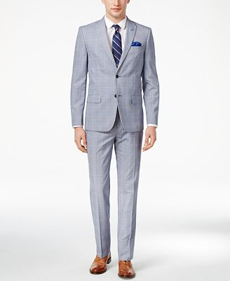 Ben Sherman Men's Slim-Fit Blue/White Plaid Suit - Suits & Suit ...