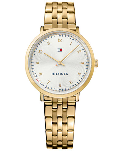 Tommy Hilfiger Women's Casual Sport Gold-Tone Stainless Steel Bracelet Watch 35mm 1781761