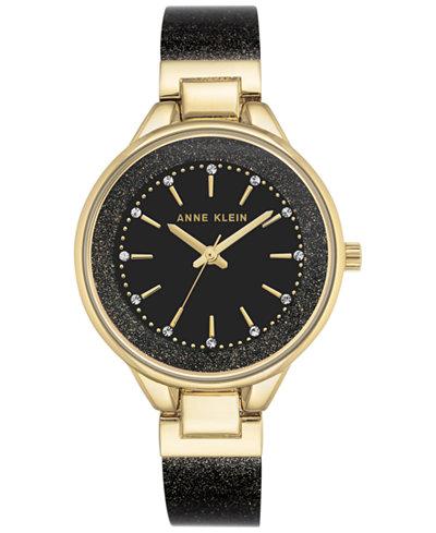 Anne Klein Women's Black and Gold Shimmer Resin Bangle Bracelet Watch 36mm AK-1408BKBK