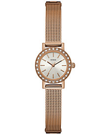 GUESS Women's Rose Gold-Tone Stainless Steel Mesh Bracelet Watch 22mm U0954L3