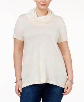 Whitespace Trendy Plus Size Split-Back Turtleneck Sweater