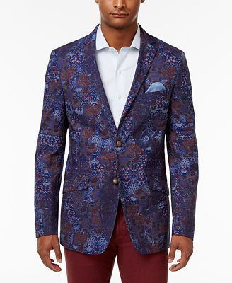 Tallia Men's Slim-Fit Indigo/Purple Paisley Cotton Sport Coat ...