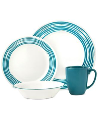 main image; main image ...  sc 1 st  Macyu0027s & Corelle Brushed Turquoise 16-Pc. Dinnerware Set Service for 4 ...