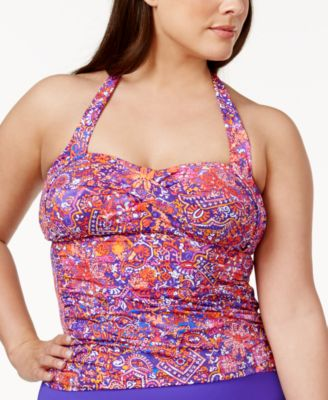 Lauren Ralph Lauren Plus Size Tile-Print Tummy-Control Halter Tankini Top