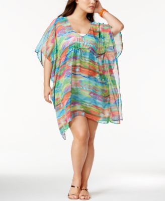 Lauren Ralph Lauren Plus Size Ikat-Stripe Crinkle Cover-Up