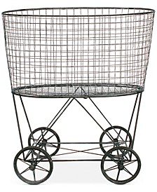 Vintage Metal Wheeled Laundry Basket
