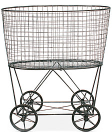 Vintage Metal Wheeled Laundry Basket