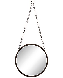 Round Metal-Framed Mirror with Chain