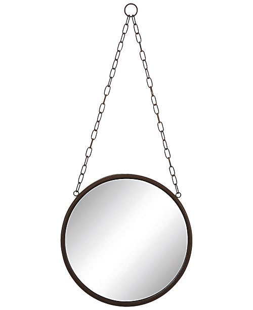 3R Studio Round Metal-Framed Mirror with Chain - Mirrors - Macy\'s