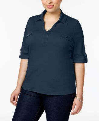 Karen Scott Plus Size Cotton Utility Polo Top, Only at Macy's