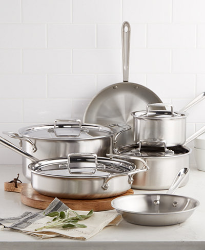 All Clad D5 Brushed Stainless Steel 10 Pc Cookware Set