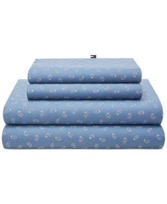 CLOSEOUT! Tossed Paisley Blue Twin Sheet Set
