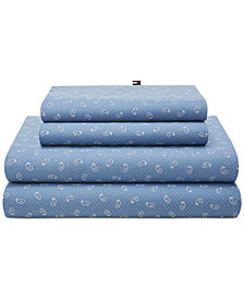 CLOSEOUT! Tommy Hilfiger Tossed Paisley Blue Twin XL Sheet Set