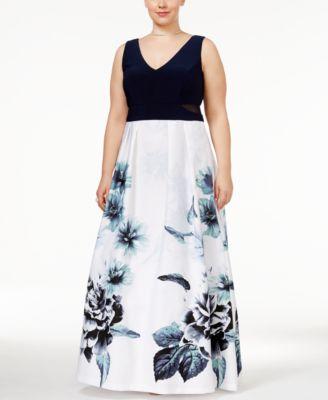 XSCAPE Plus Size Floral-Print A-Line Gown
