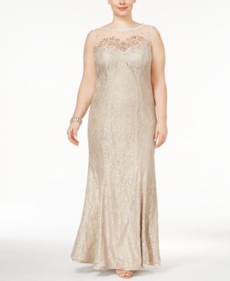 XSCAPE Plus Size Lace A-Line Gown