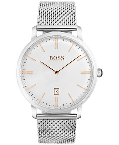 BOSS Hugo Boss Men's Tradition Stainless Steel Mesh Bracelet Watch 40mm 1513481