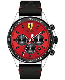 Men's Chronograph Pilota Black Leather Strap Watch 45mm 0830387