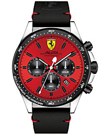 Ferrari Men's Chronograph Pilota Black Leather Strap Watch 45mm 0830387