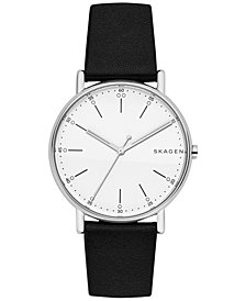 Skagen Unisex Signature Black Leather Strap Watch 40mm SKW6353