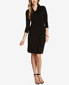 Three-Quarter-Sleeve Faux-Wrap Dress