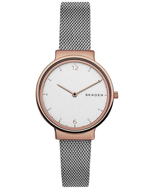 545a3a90ecc9 ... Skagen Women s Ancher Two-Tone Stainless Steel Mesh Bracelet Watch 34mm  SKW2616 ...