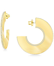 Swarovski Gelane Wide Pavé Half Hoop Earrings