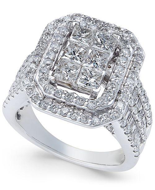 Macy's Diamond Engagement Ring (3 ct. t.w.) in 14k White Gold