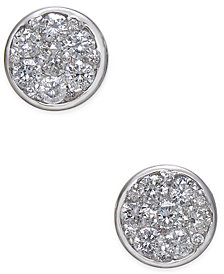 Diamond Cluster Bezel Stud Earrings (5/8 ct. t.w.) in 14k White Gold