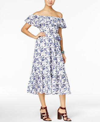 Olivia & Grace Cotton Off-The-Shoulder Midi Dress, Created for Macy's