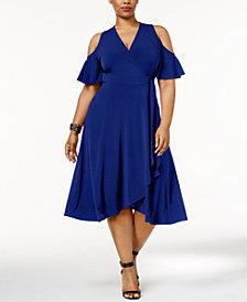 Soprano Trendy Plus Size Cold-Shoulder Dress