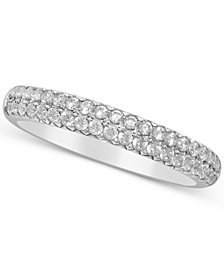 Diamond Double Row Band (1/2 ct. t.w.) in 14k White Gold, Yellow Gold & Rose Gold