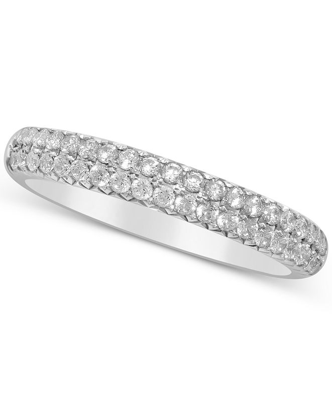 Macy's Diamond Double Row Band (1/2 ct. t.w.) in 14k White Gold, Yellow Gold & Rose Gold