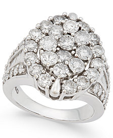 Diamond Oval Cluster Ring (5 ct. t.w.) in 14k White Gold
