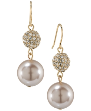 Carolee Gold-Tone Imitation Pearl and Crystal Double