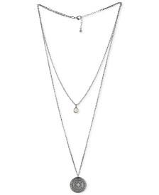RACHEL Rachel Roy Silver-Tone White Stone & Etched Disc Double-Row Pendant Necklace