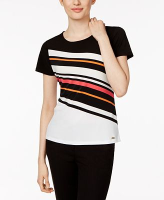 calvin klein striped t shirt tops women macy 39 s