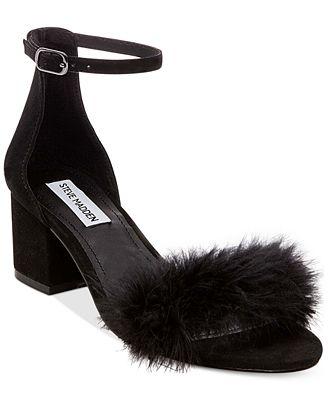 Steve Madden Imelda Feather Block-Heel Sandals