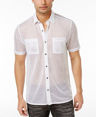 I.N.C. Men's Mesh Shirt, Created for Macy's - Casual Button-Down ...