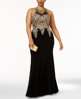 Xscape Plus Size Embroidered Mesh Mermaid Gown