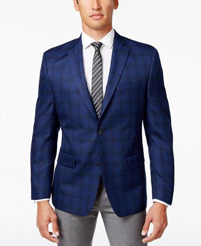 MICHAEL Michael Kors Men's Classic-Fit Navy Windowpane Sport Coat ...