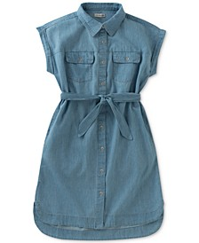 Cotton Chambray Shirtdress, Big Girls (7-16)