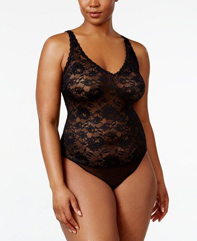 Cosabella Plus Size Sheer Lace Thong Bodysuit NEVER2221P