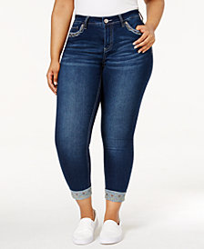 Hydraulic Trendy Plus Size Emma Embroidered Samoa Wash Skinny Jeans