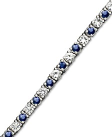 White Sapphire (2-3/4 ct. t.w.) and Sapphire (2-1/2 ct. t.w.) Bracelet in Sterling Silver