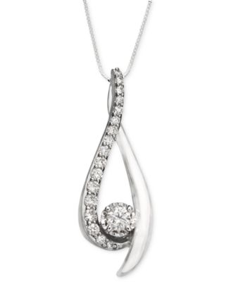 Diamond Sirena Pendant Necklace in 14k White Gold 38 ct tw