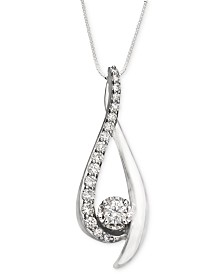 Diamond Sirena Pendant Necklace in 14k White Gold (3/8 ct. t.w.)