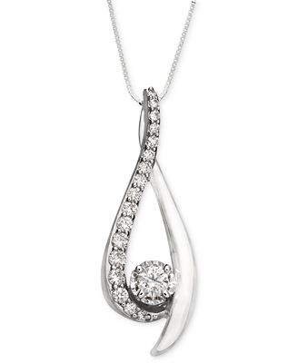 sirena pendant necklace in 14k white gold 3 8 ct