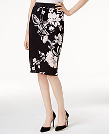 Alfani Petite Printed Scuba Skirt, Created for Macy's